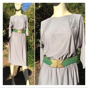Vintage 70's Silky Silver Dolman Sleeve Dress